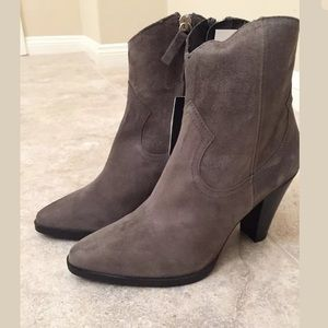 ZARA GRAY LEATHER COWBOY HEELED ANKLE BOOTS